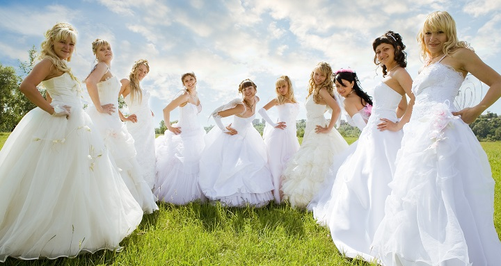 groups ten bride on green grass under sky