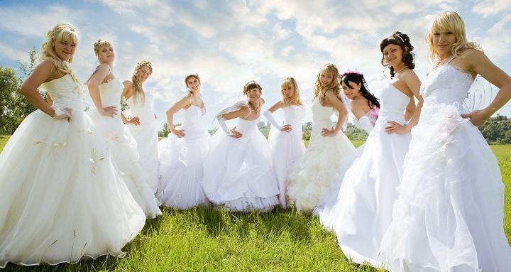 groups ten bride on green grass under sky
