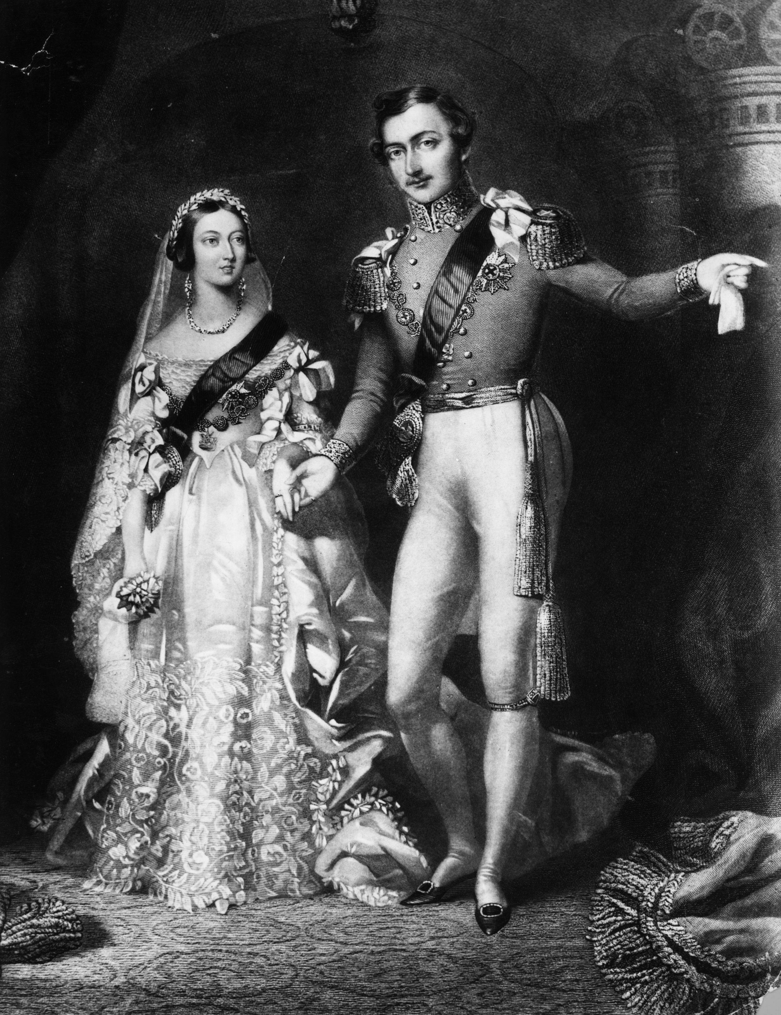 10th February 1840:  Queen Victoria (1819 - 1901) and Prince Albert (1819 - 1861) on their return from the marriage service at St James's Palace, London. Original Artwork: Engraved by S Reynolds after F Lock.  (Photo by Rischgitz/Getty Images)